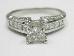 1.56 TCW Princess Cut Diamond Engagement Ring Size 6 H-I SI-2 14k White Gold