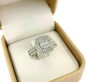 0.85 Carats Diamond Invisible Set Double Cushion Halo Wedding/Anniversary Ring