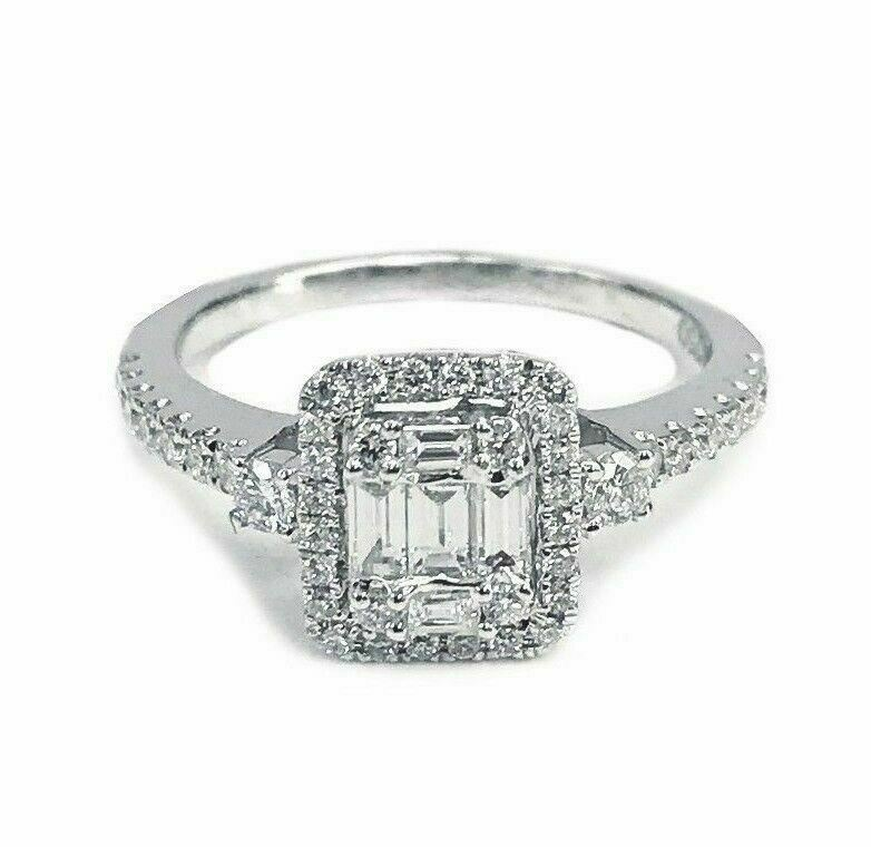 0.68 TCW Halo Baguette & Round Diamond 18K White Gold Engagement Ring Size 6.75