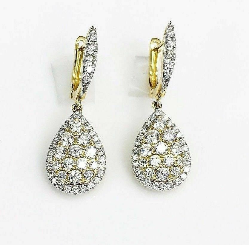 1.50 Carats t.w. Diamond Halo Dangle Earrings 18 Karat Yellow Gold Brand New