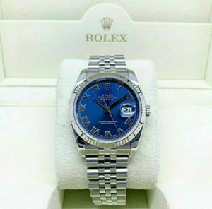 Rolex 36MM Datejust Watch 18K Gold/Stainless Ref # 116234 Factory Blue Dial