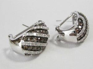 2.90 TCW Natural Round Champagne & White Diamonds Huggie Earrings G VS2 14k Gold