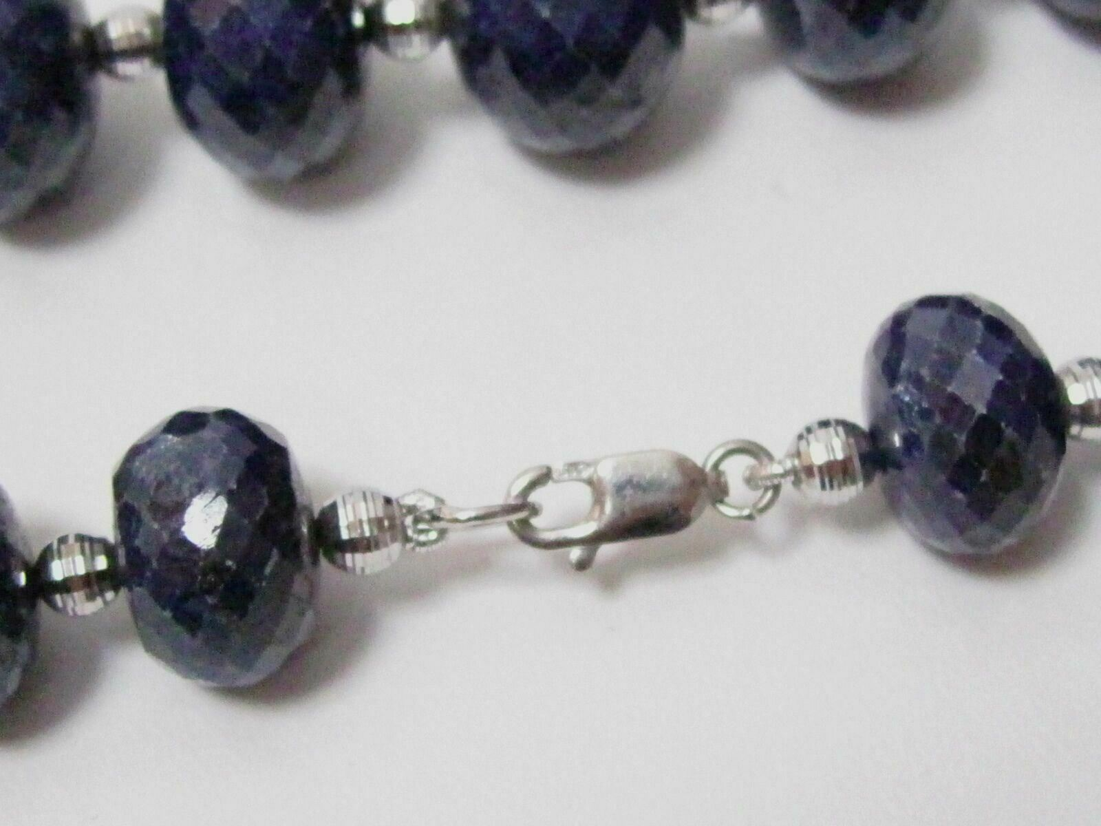 "Fine 738 carats Natural Blue Sapphire String/Strand Necklace 21"" 14kt White Gold"