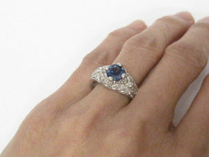 1.74 TCW Antique Style Natural Blue Sapphire & Diamond Cocktail Ring Size 6.5