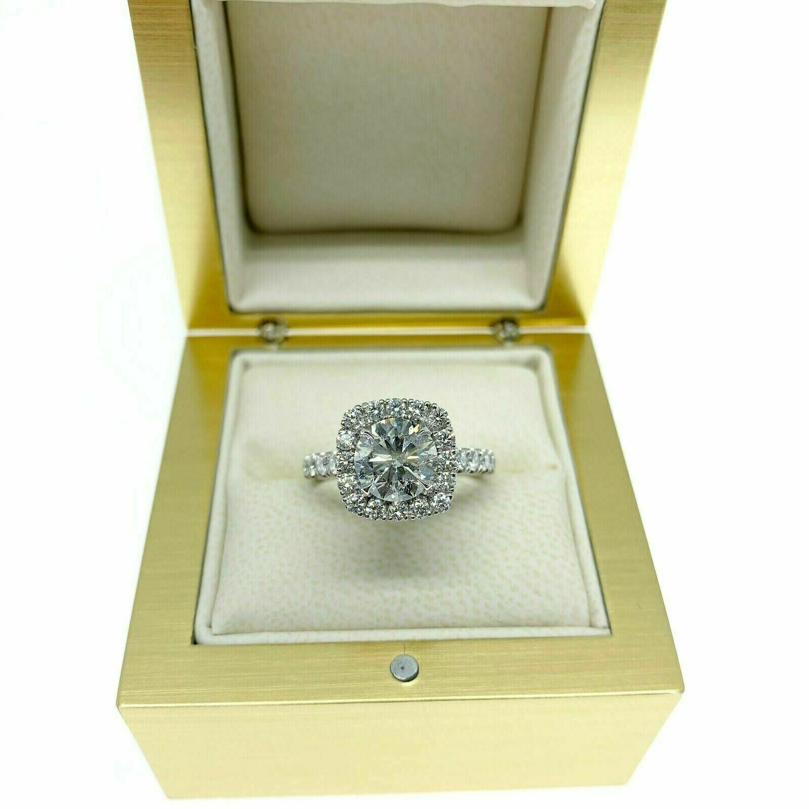 Custom Made Platinum Halo Diamond Wedding Ring AGS 1.50 Carats Center Diamond
