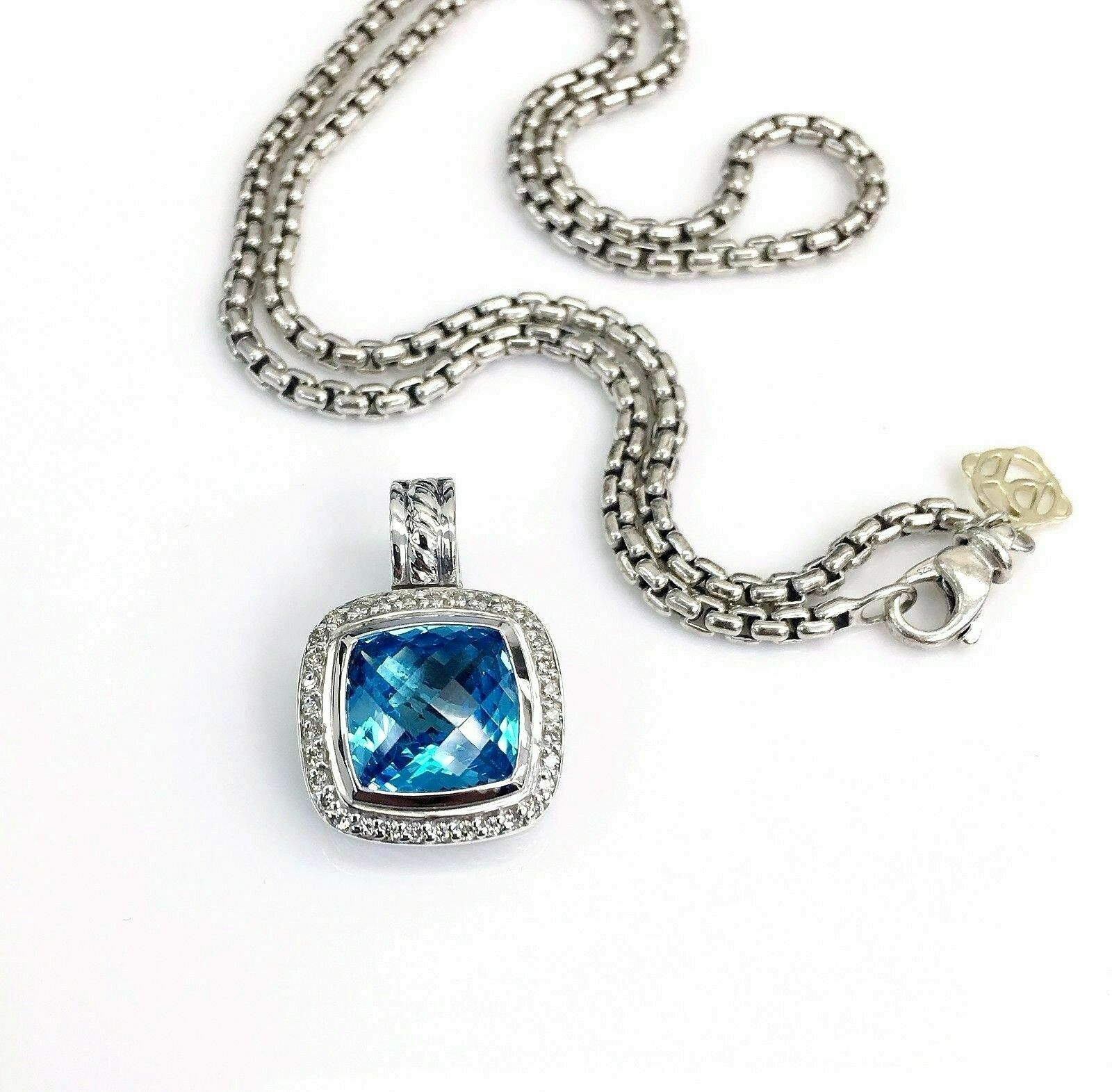 David Yurman Albion Diamond and Topaz Pendant with DY 14K and Sterlin Chain 16in