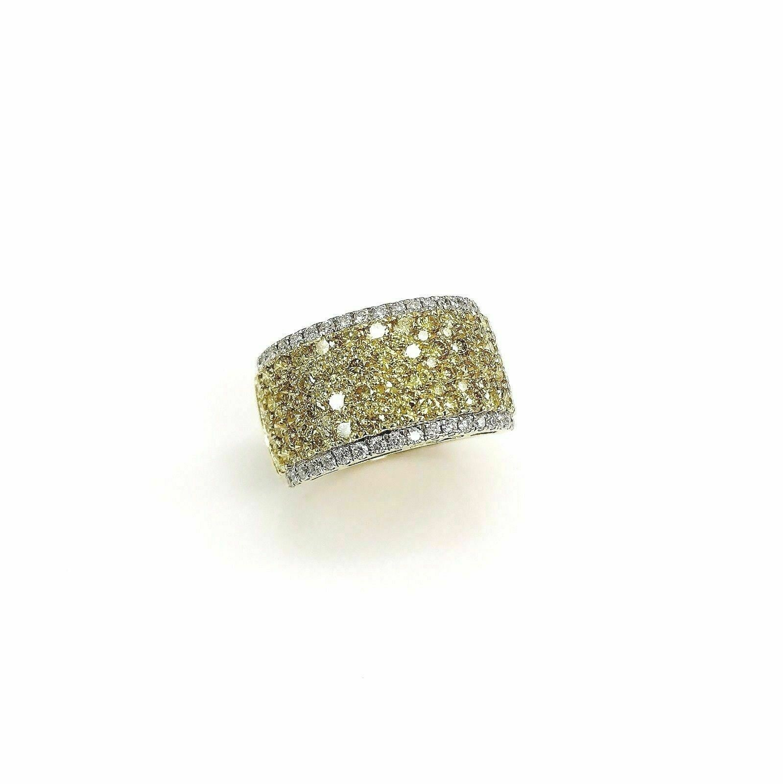 2.15 Carats t.w. Fancy Yellow and White Diamond Anniversary Ring 18 Karat Gold