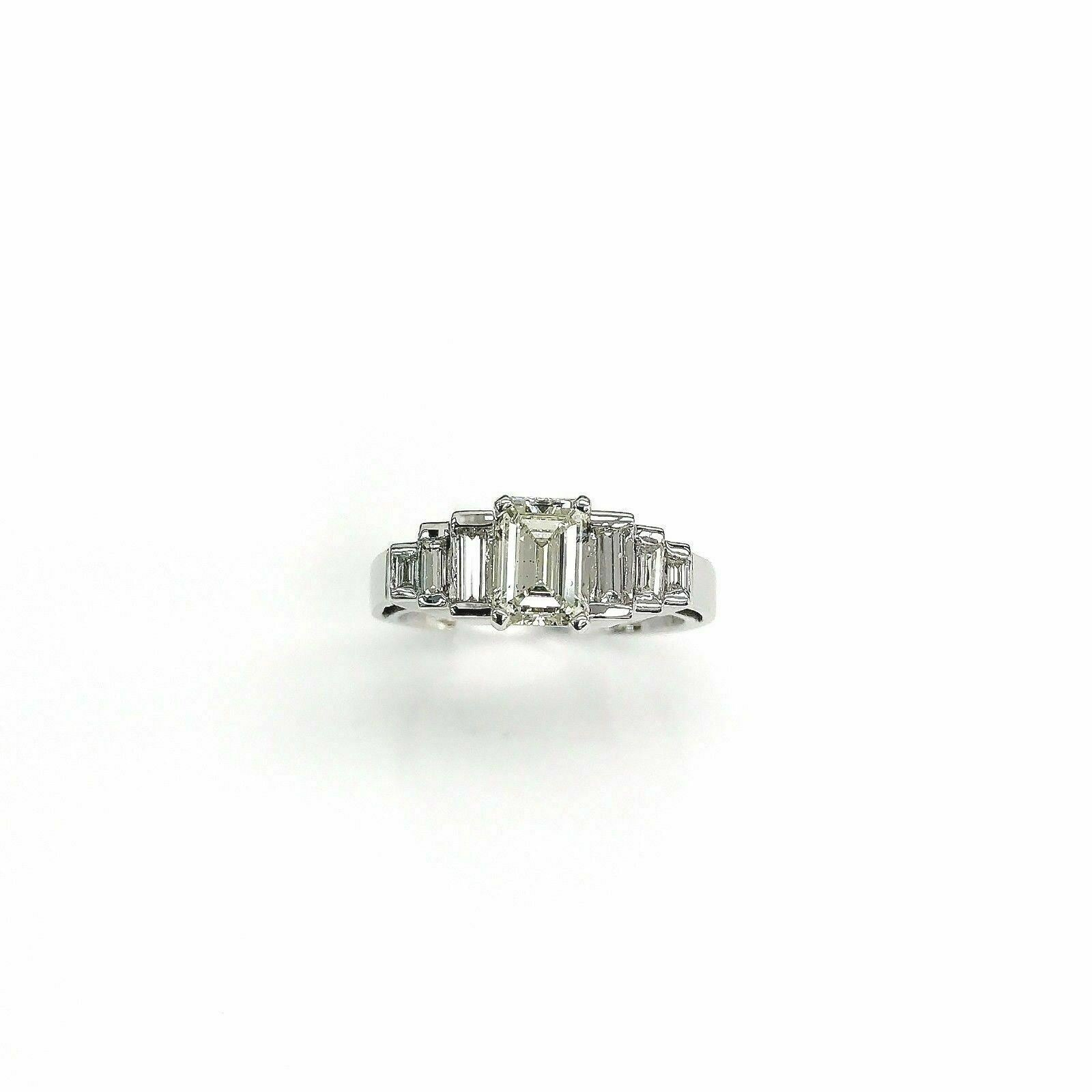 1.53 Carats Diamond Wedding Anniversary Ring 1.03 Emerald Cut Center 14K Gold