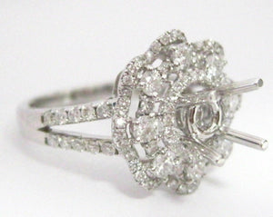 Fine 1.22 TCW 4 Prongs Semi-Mounting Round Brilliant Diamond Engagement Ring