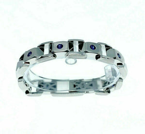 2.50 Carats t.w. Blue Sapphire Custom Made Mens Bracelet 14K White Gold 67 Grams