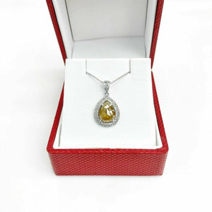 1.90 Carat t.w. Raw Diamond Halo Pendant 1.69 Carat Center 14K Gold w 14K Chain