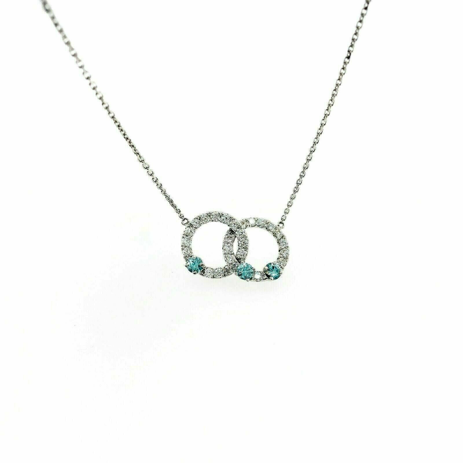 2.15 Carats t.w. Diamond and Blue Topaz 14K Gold Intertwined Circles Necklace