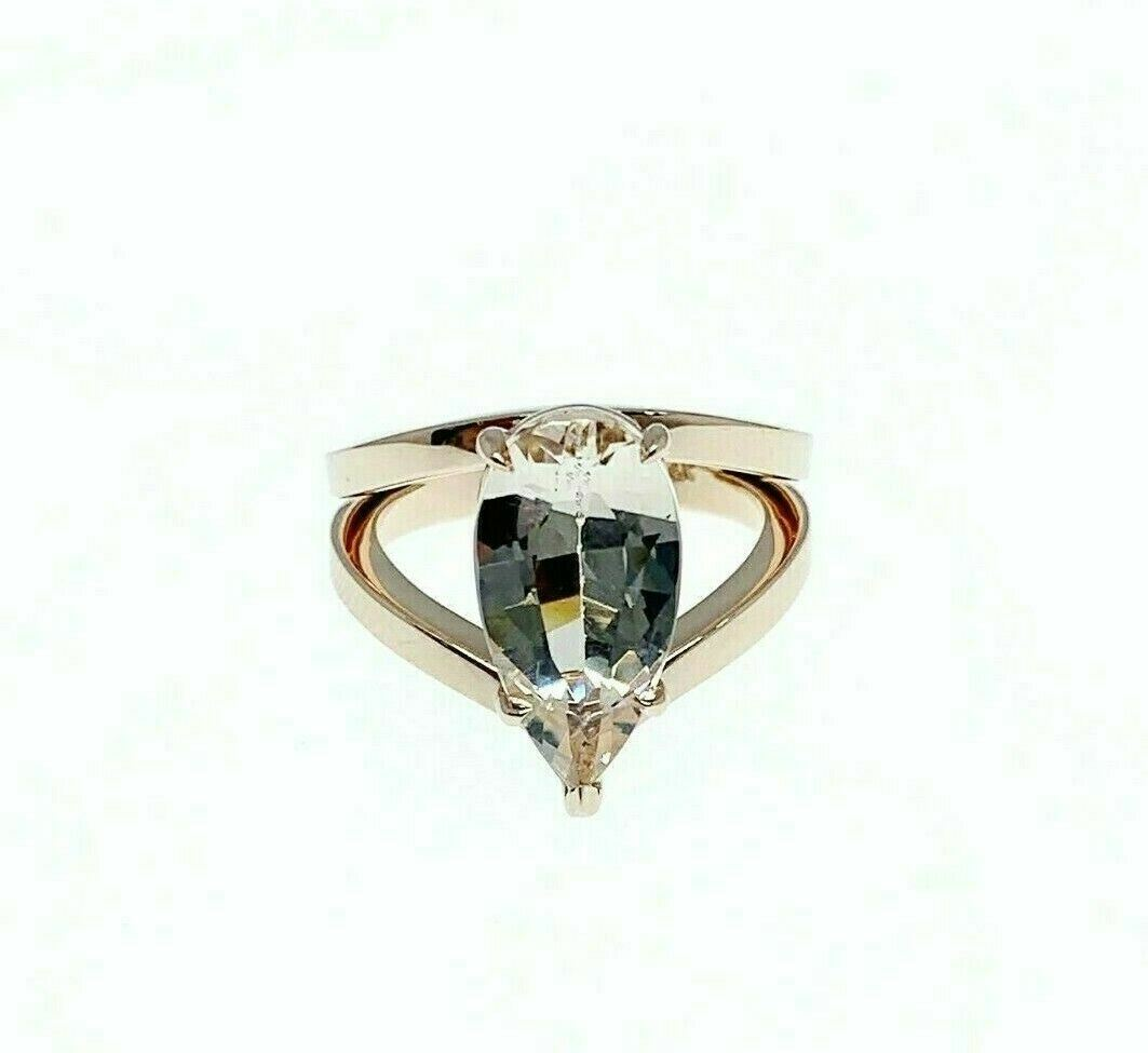 2.90 Carats Custom Made Pear Shape Morganite Split Solitaire Ring 14k Rose Gold