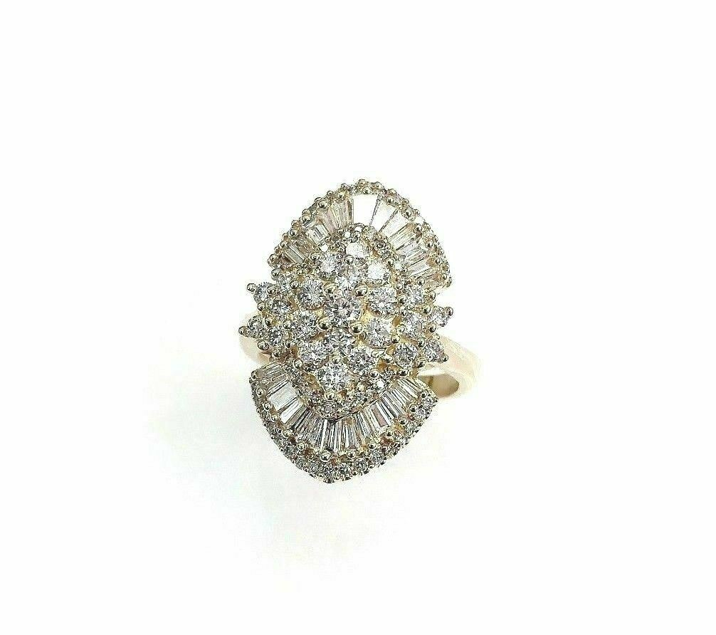 2.50 Carats Round and Baguette Cut Diamond Anniversary Ring 14K Yellow Gold