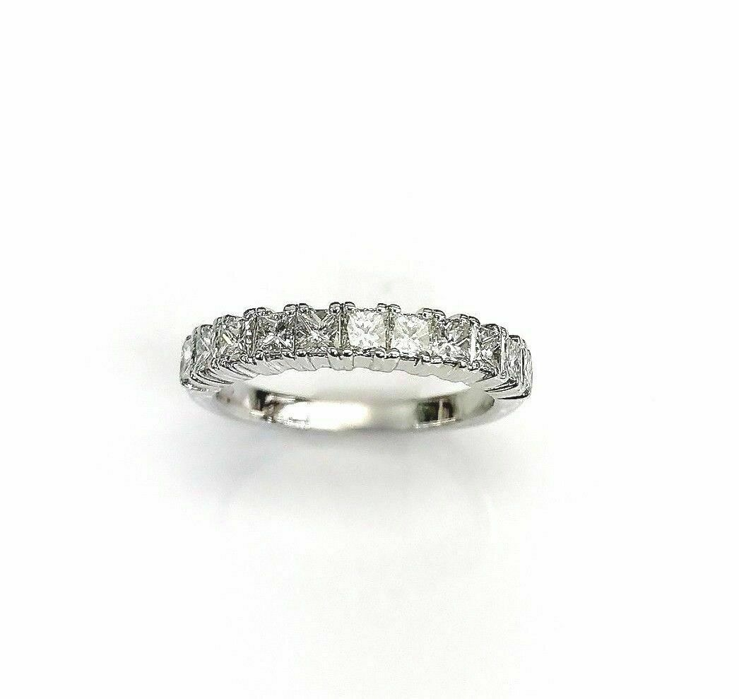 0.75 Carats t.w. Princesss Cut Diamond Anniversary/Stack Ring 18K White Gold New