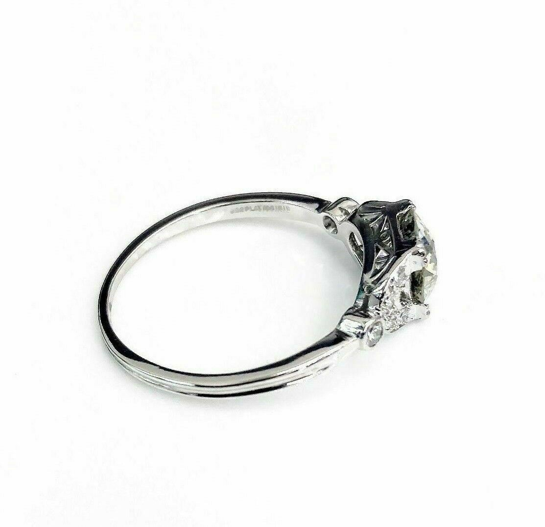 Antique 1940's 1.51 Carats Center Old Euro Cut Diamond Wedding/Engagement Ring