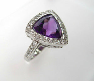 3.90TCW Natural Trillion Amethyst w/ Diamond Accents Solitaire Ring Sz 6 14k WG