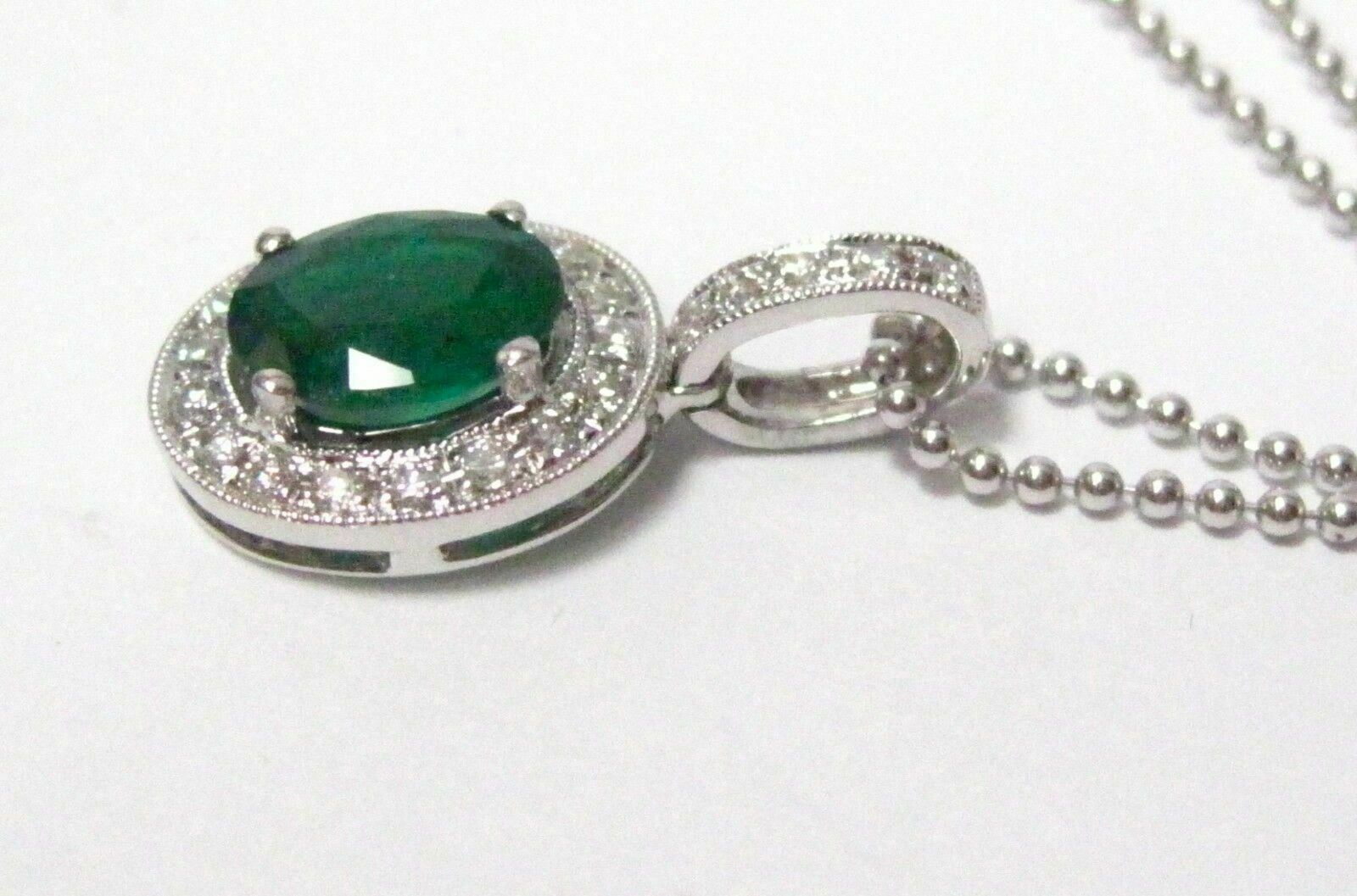 1.51 TCW Natural Oval Cut Green Emerald & Round White Diamonds Pendant Necklace