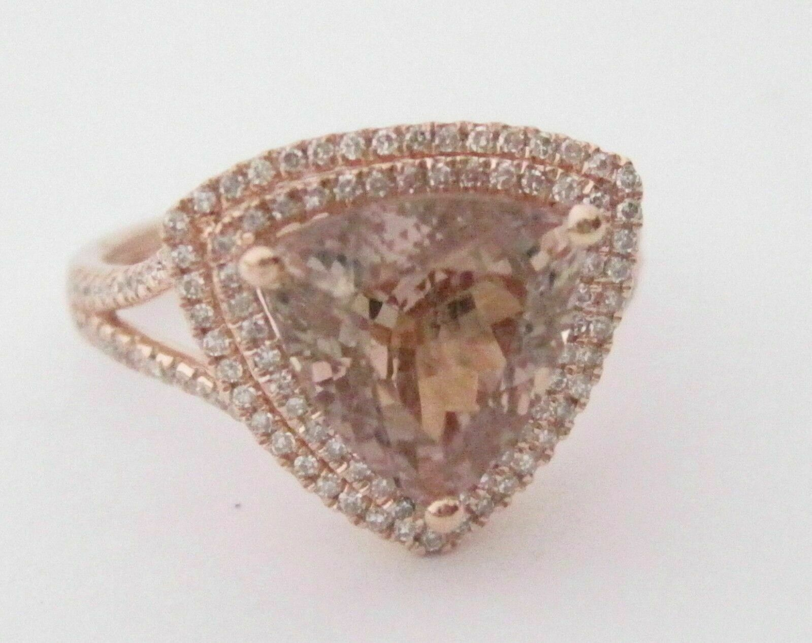 3.56 TCW Trillion Champagne Tourmaline Diamond Accents Solitaire Ring Rose Gold