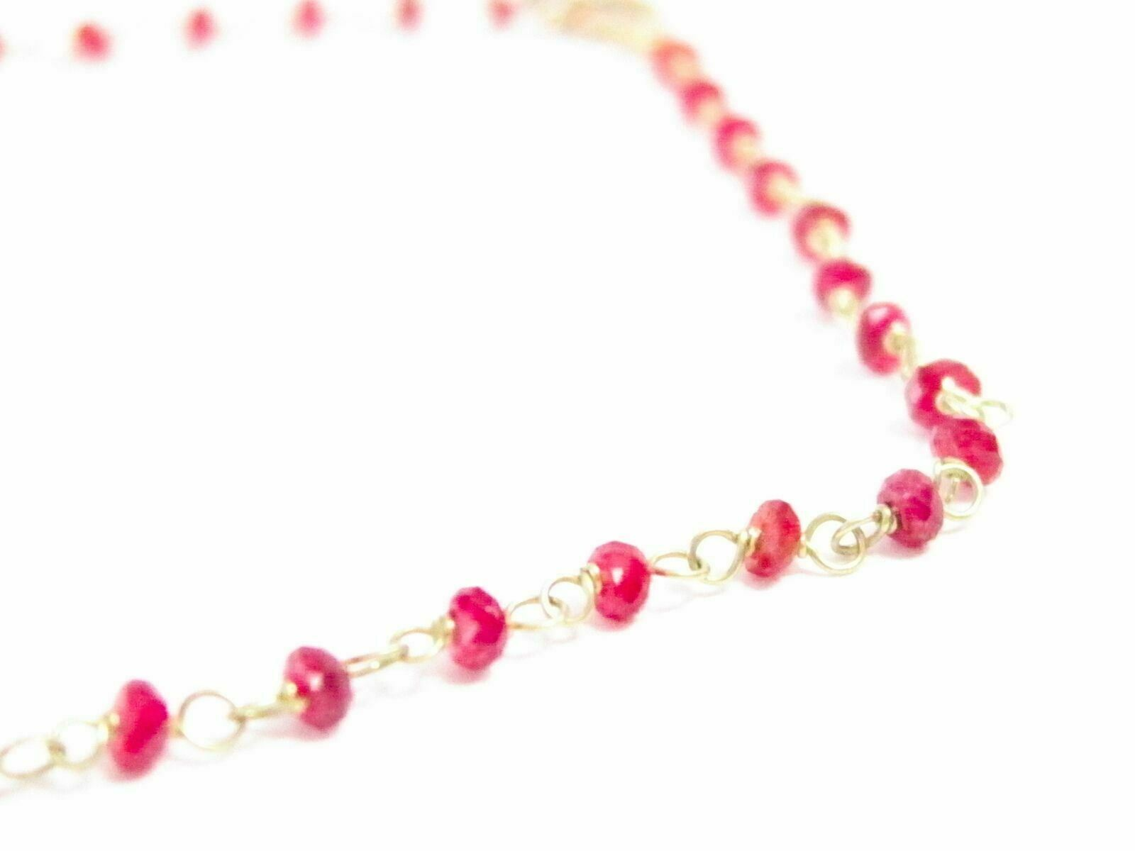 Fine Red Ruby Bead & Pearl Strand Necklace 14k Yellow Gold 18 Inches 30 Carats