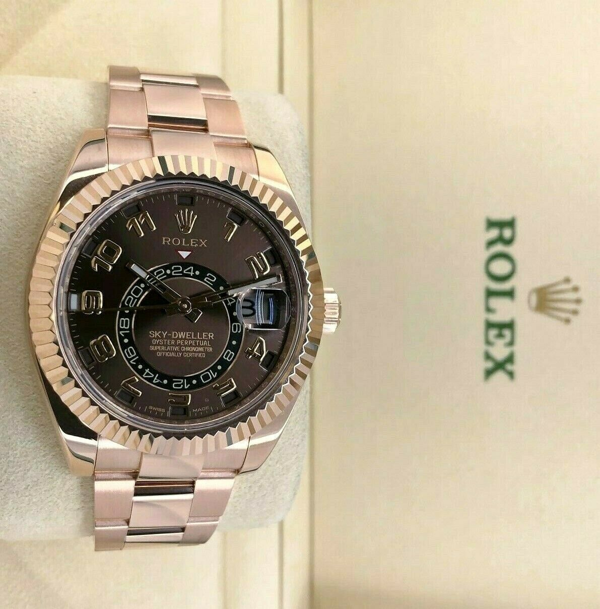 Rolex 42MM Sky- Dweller Watch 18K Rose Gold Ref # 326935 2019 Box and Card