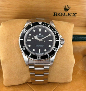 Rolex 40mm Black Submariner No Date Stainless Steel Watch Ref 14060 A Serial