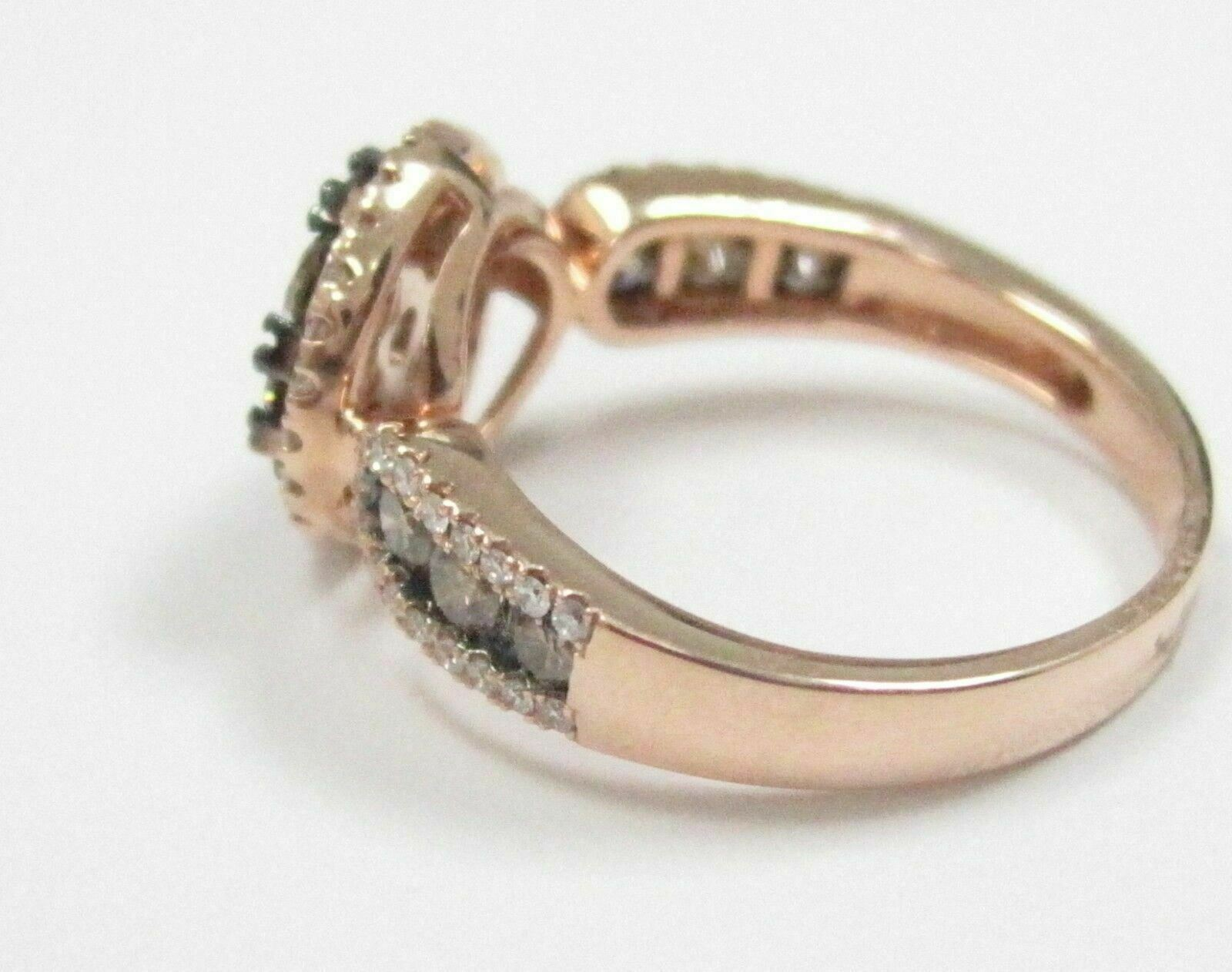 1.44 TCW Natural Round Brilliants Champagne Flower Diamond Ring 14k Rose Gold