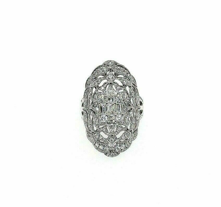 1.56 Carats t.w. Diamond Anniversary Celebration Ring 18K Gold 1.10 x 0.75 Inch
