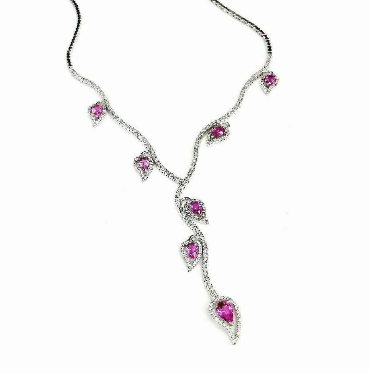 7.40 Carats Custom Made Pink Sapphire and Diamond Necklace 18K White Gold