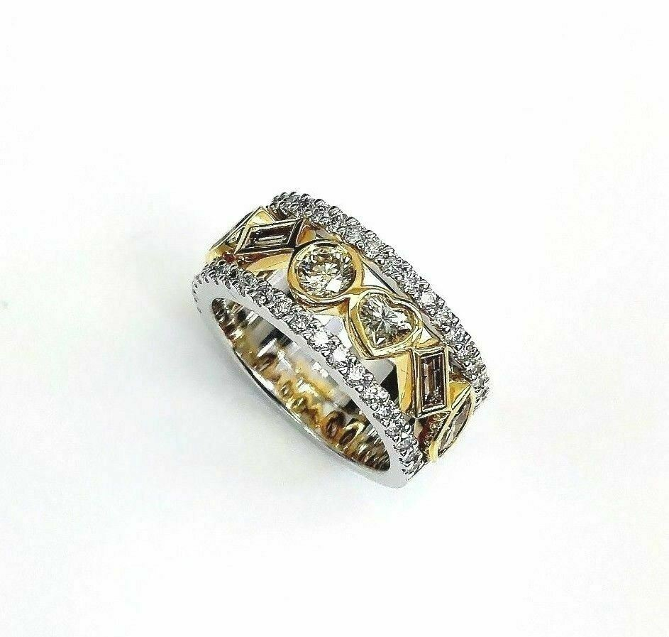 2.35 Carats t.w. Fancy Color and White Diamond Celebration Ring 14K 2Tone Gold