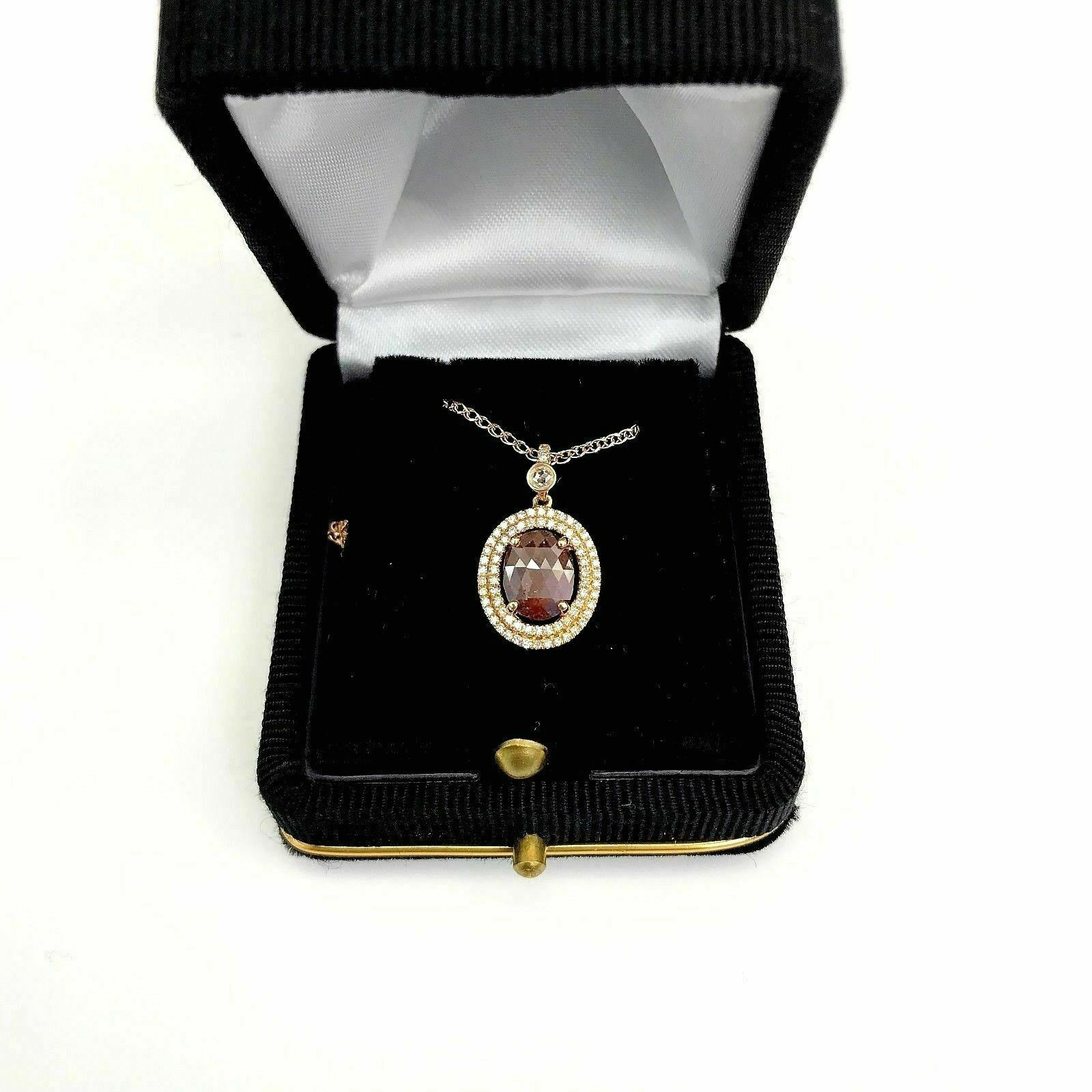 1.41 Carats t.w. Natural Raw Diamond Halo Pendant 1.20 Ct Center Rose Gold