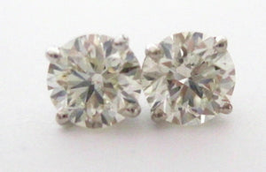 1.16 Carats Round Brilliant Cut Diamond Stud Earrings G-H SI-1 14k White Gold