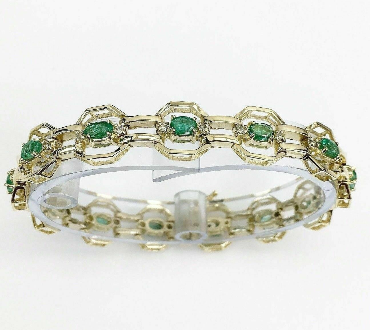 3.78 Carats t.w. Emerald and Diamond Tennis Bracelet 14KWhite Gold 3 Cts Emerald
