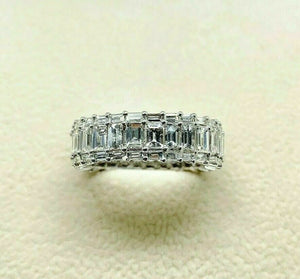 3.95 Carats Diamond Eternity Anniversary Ring 18K White Gold H VS Diamonds