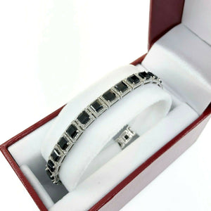 20.56 Carats tw Blue Sapphire and Diamond Halo Tennis Bracelet 14K White Gold