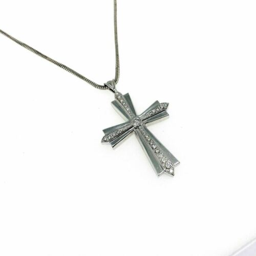 1.35 Carats t.w. Custom Made Diamond Cross Pendant 14K Gold 2.10 x 1.40 Inch