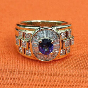2.10 Carats t.w. Diamond and Sapphire Anniversary Ring 18K Gold 10.9 Grams