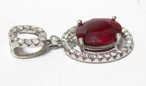 5.82 TCW Oval Red Ruby & Diamond Accents Movable Cocktail Pendant 18k White Gold