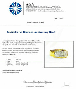 $5,200 Retail 1.60 Carats Princess Cut Invisible Set Diamond Anniversary Ring