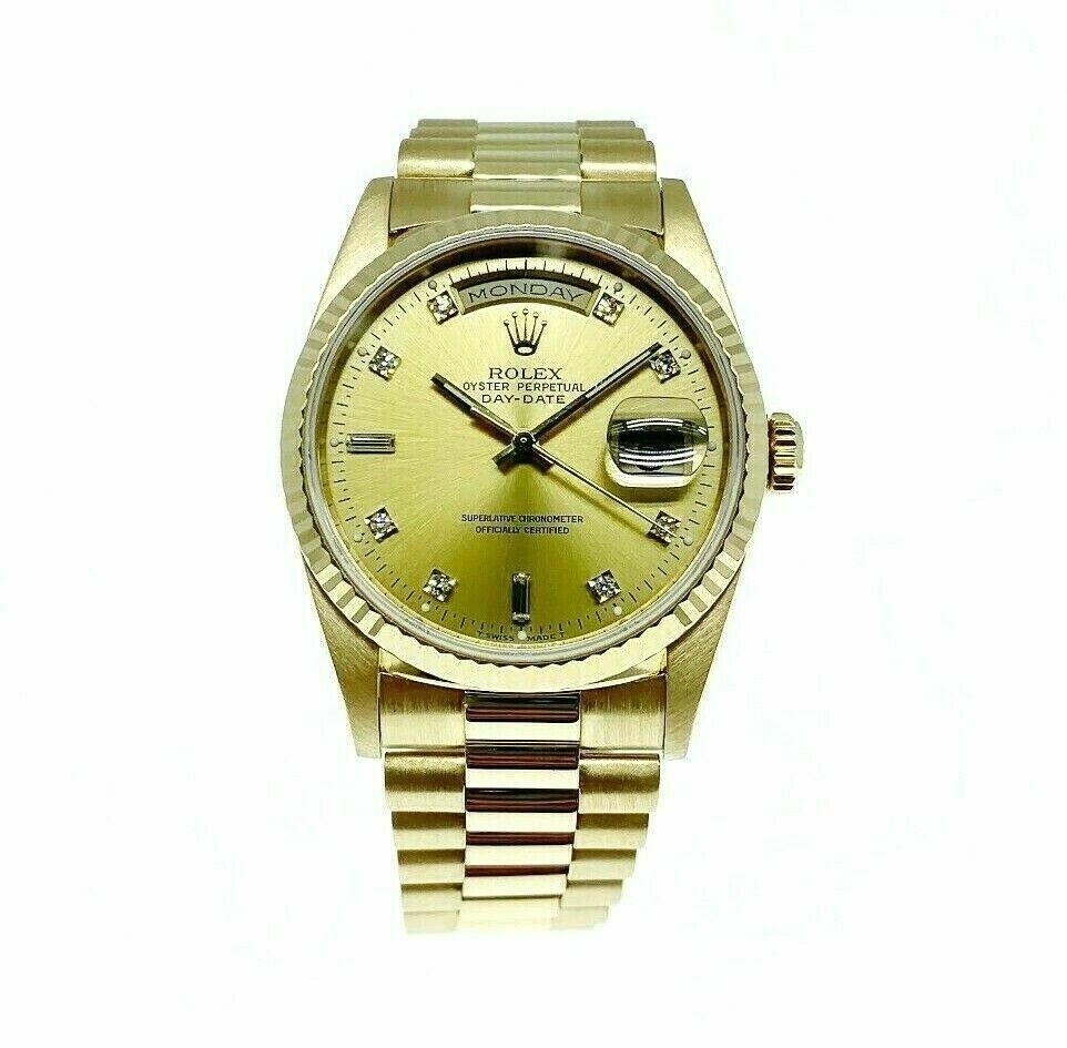 Rolex Day Date President 18K Yellow Gold 36mm Watch 18238 Factory Diamond Dial