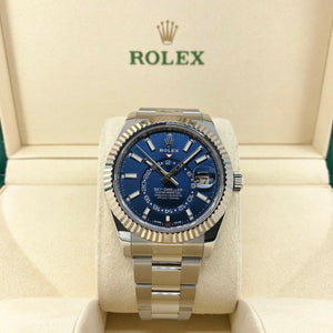 Rolex 42MM Sky- Dweller Watch 18K Gold Stainless Steel Ref # 326934 Box and Card