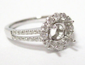 .51Ct 4 Prong Semi-Mounting Engagement Ring for Round Cut Diamond 18k White Gold