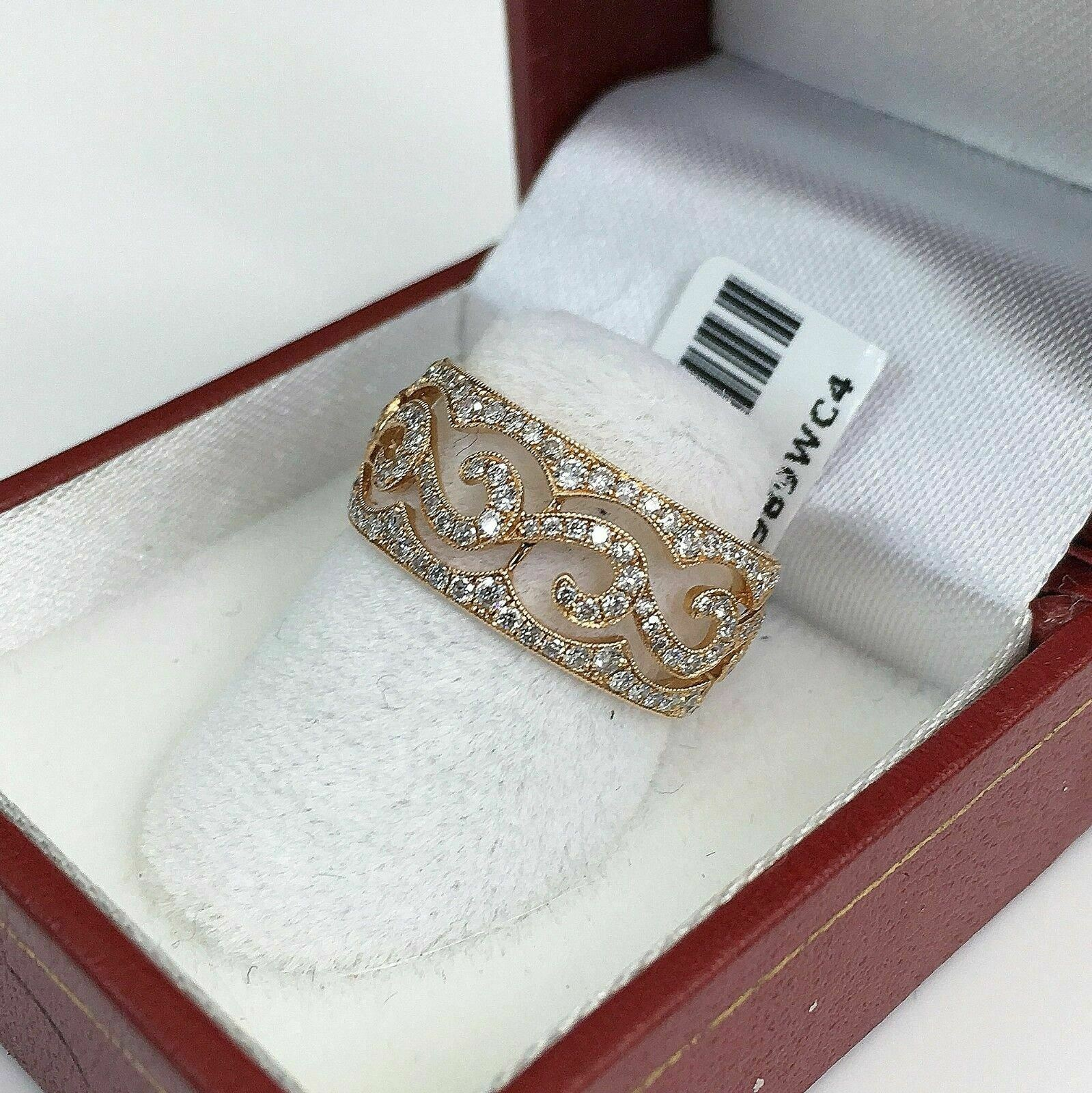 0.93 Carats t.w. Diamond Pave Eternity Ring 18K Rose Gold Brand New 80% Diamonds