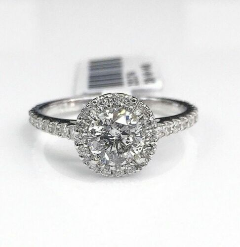 1.51 Carats t.w. Diamond Wedding/Engagement Halo Ring 0.96 Carat CenterDiamond