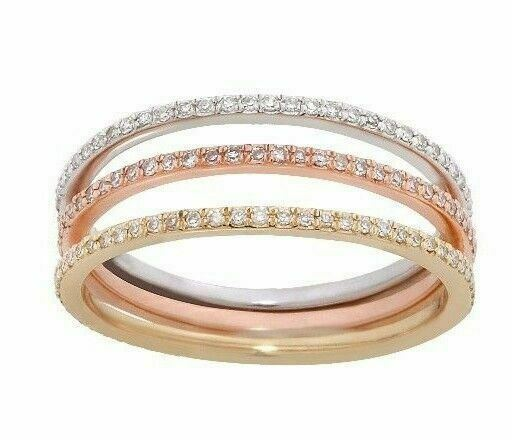 Stackable 3 Diamond Eternity Bands Set 14k White, Yellow, & Rose Gold Size 7