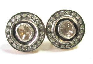 1.25 TCW Fine Natural Rose Cut Diamond Stud Earrings H-I SI1 14k Gold and Silver