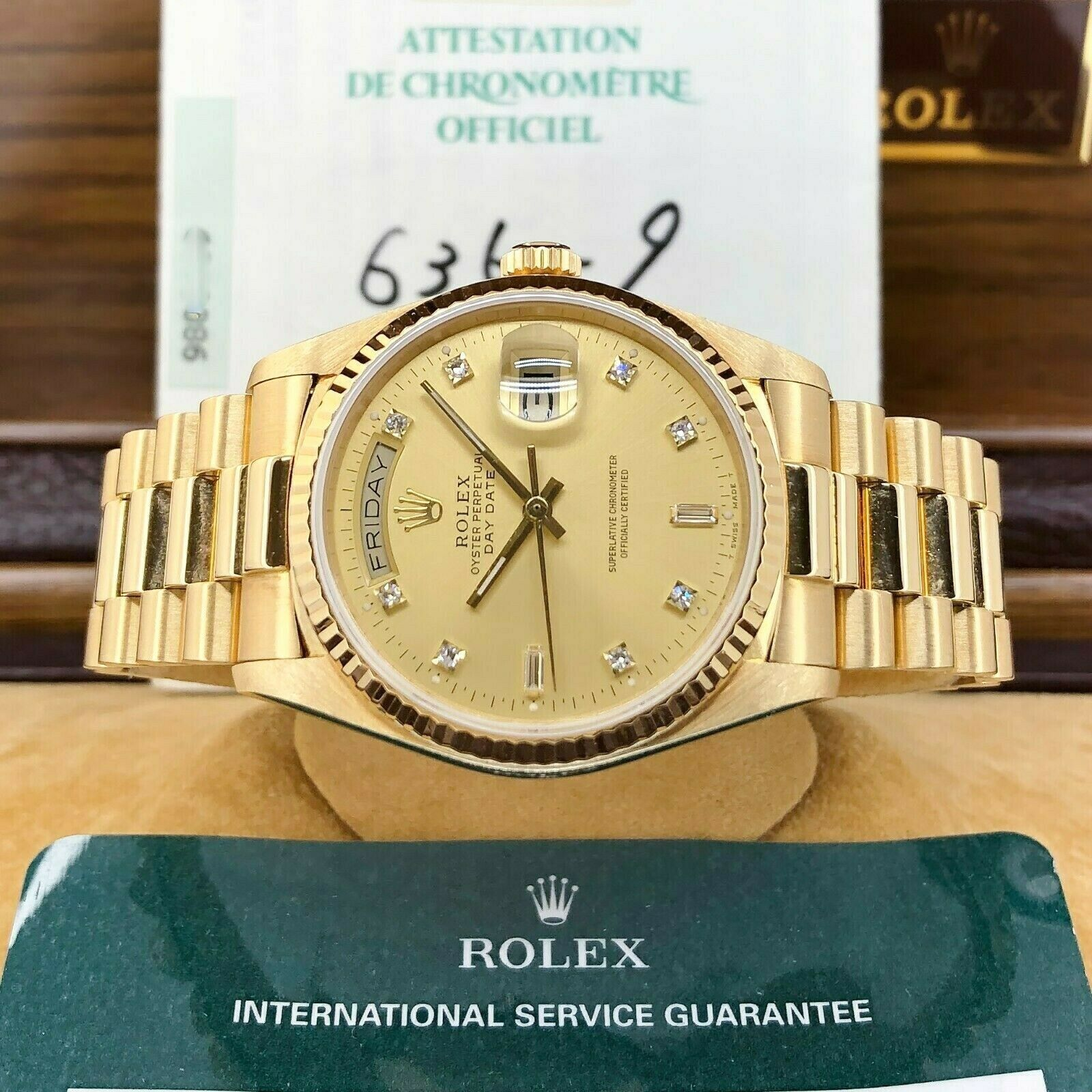 Rolex Day Date President 18K Yellow Gold 36mm Watch 18038 Factory Diamond Dial