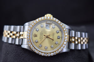 DateJust Rolex 26mm Diamond Dial and Diamond Bezel Watch 18k Yellow Gold / Stainless Steel