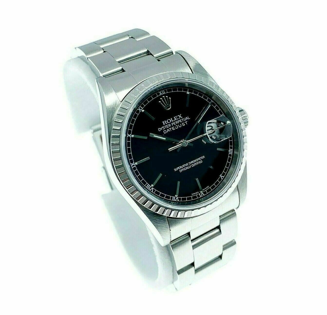 Rolex 36MM Datejust Watch Stainless Steel Ref #16220 F Serial Oyster Band Papers
