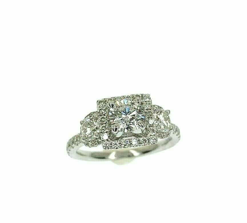 1.62 Carats t.w. Round Cut Diamond Center Halo & Side Halos Engagement Ring 18K